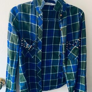 Plaid Studded Pockets Button up